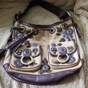Isabella Fiore Leather Detail Canvas Purse